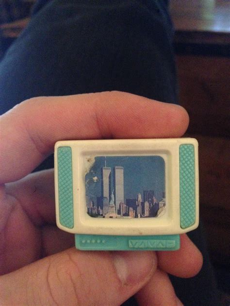 dolls house tv i was cleaning my attic and found a doll house tv with the twin towers on it