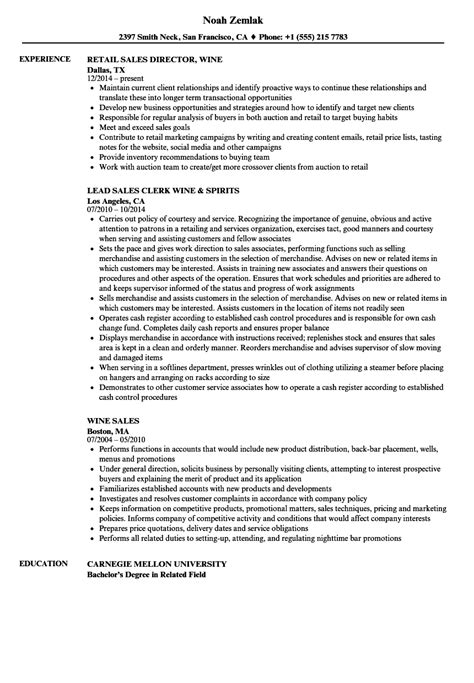 Wine Sales Cover Letter by Wine Sales Resume Resume Ideas