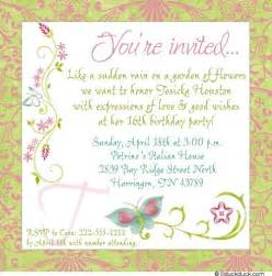 chic garden 16th birthday invitation event butterfly wording