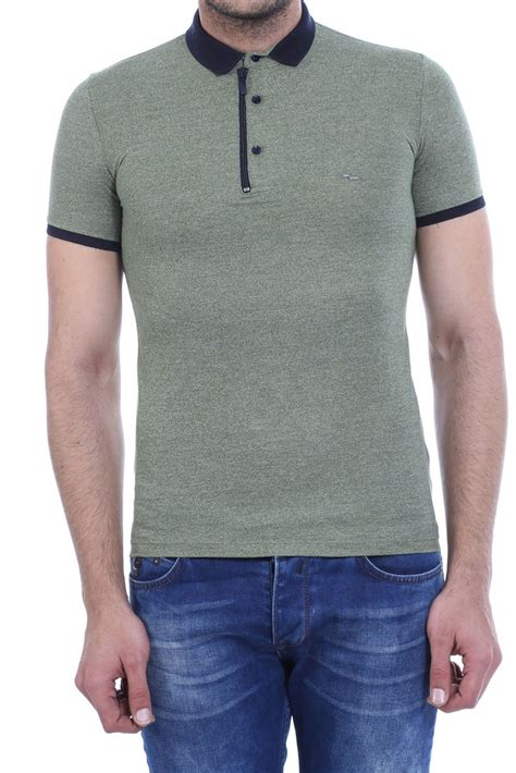 Buttoned Sleeve T Shirt buttoned navy collar lined sleeve olive green polo t shirt