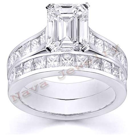 emerald cut wedding set 2 57 ct emerald cut engagement bridal set ebay