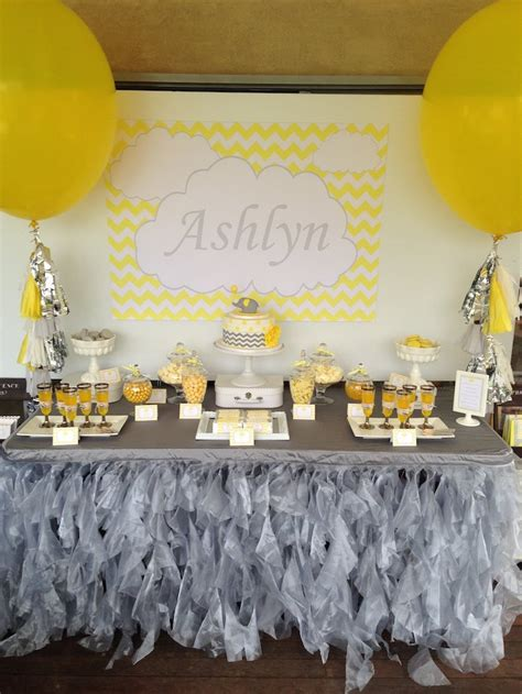 Yellow And Grey Elephant Baby Shower Decorations by Use A Yellow And Gray Color Scheme For A Gender Neutral