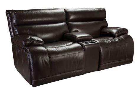 Leather Loveseat Power Recliner by Bowman Leather Power Reclining Loveseat With Console