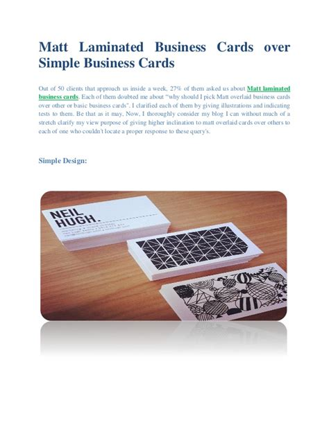 Mat Business Cards by Matt Laminated Business Cards Simple Business Cards