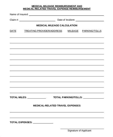 mileage reimbursement form template mileage reimbursement form 9 free sle exle