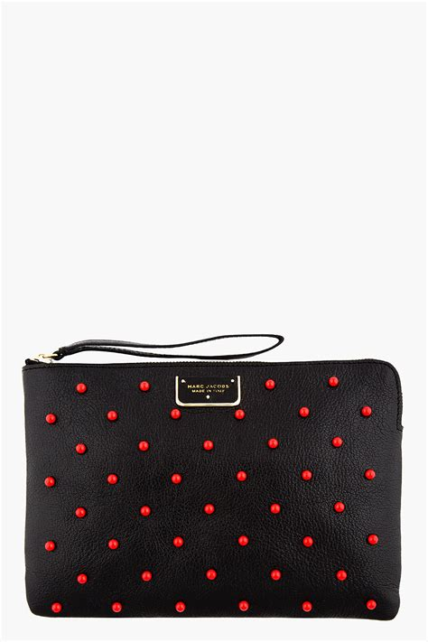 Marc Fergi Studded Leather Clutch by Marc Black Leather Red Studded The Deluxe Clutch