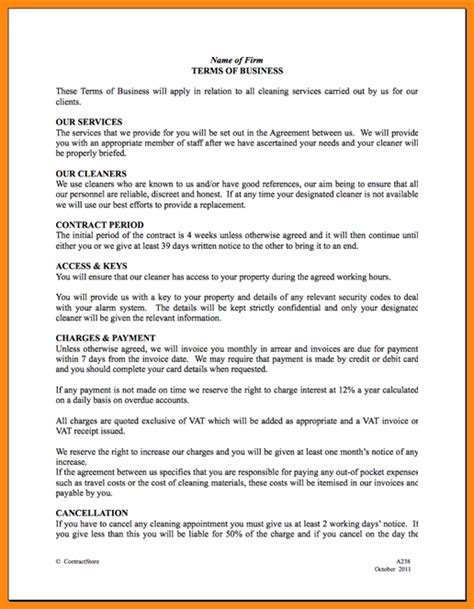 Agreement Letter For Driver cleaning service contract exle botbuzz co