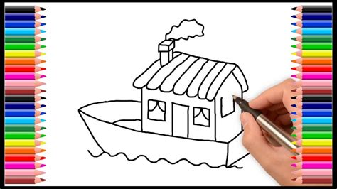 boat house drawing how to draw a house boat for kids youtube