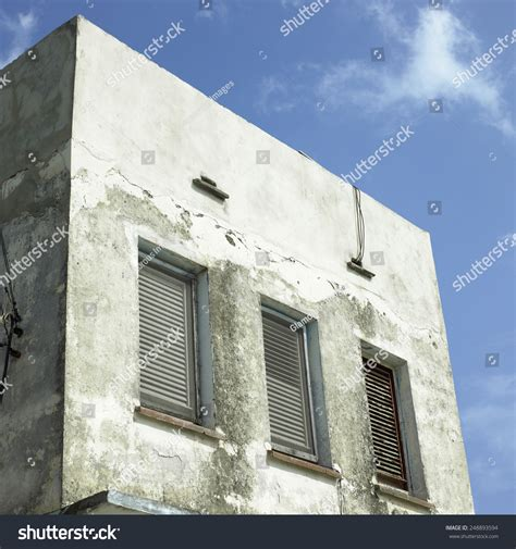 Small Concrete Sheds by Disheveled Small Concrete Building Exterior Stock Photo
