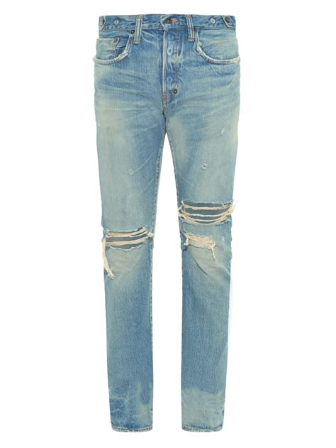 mens light blue jeans ripped prps fury fit ripped light wash jeans in blue for men lyst