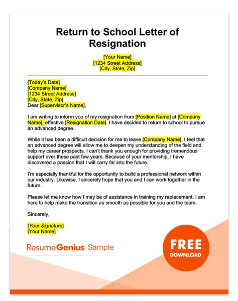 Resignation Letter Return To School Specific Resignation Letters Sles Resume Genius
