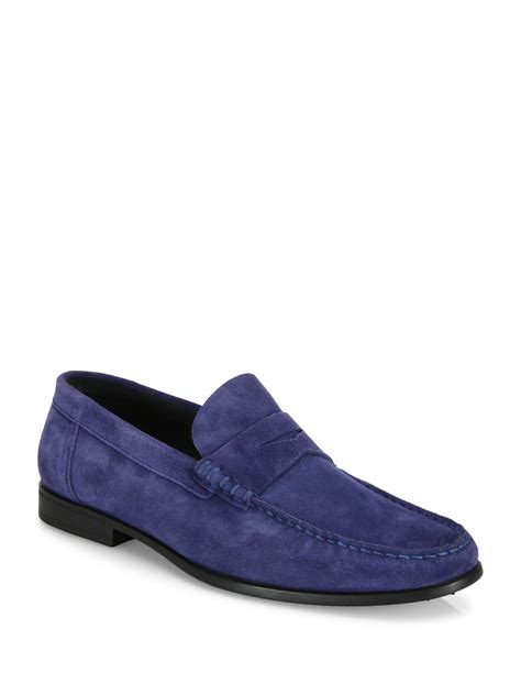 italian suede loafers to boot italian suede loafers in blue for lyst