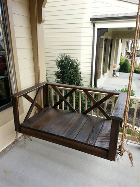 bed swings for porches custom wood dark rustic porch swing bed furniture by