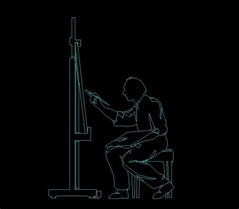 man painting picture human figure side view elevation