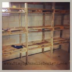 Garage Storage With Pallets Pallet Shelves In Our Basement Simply Janelle Designs