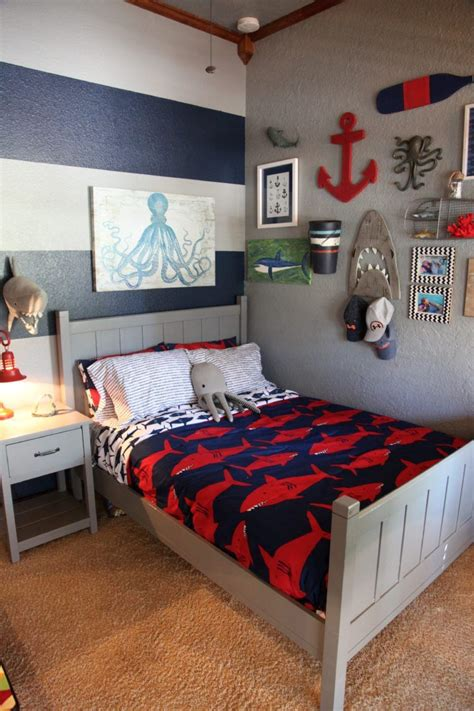 shark themed boys room   big boy rooms nautical