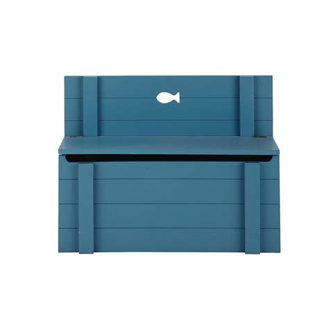 banc coffre enfant en bois bleu l 70 cm marin maisons du