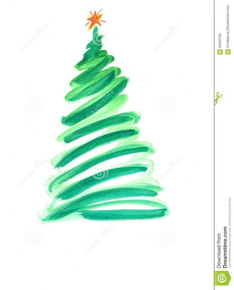 stylized christmas tree with colorful ornaments stock