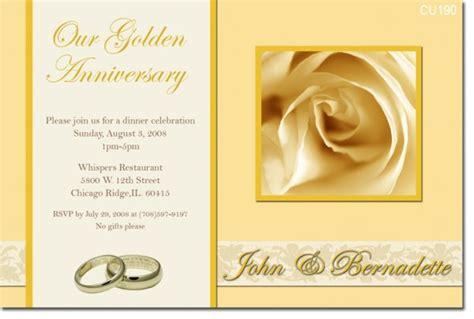 golden wedding anniversary invitation templates 50th golden anniversary invitations