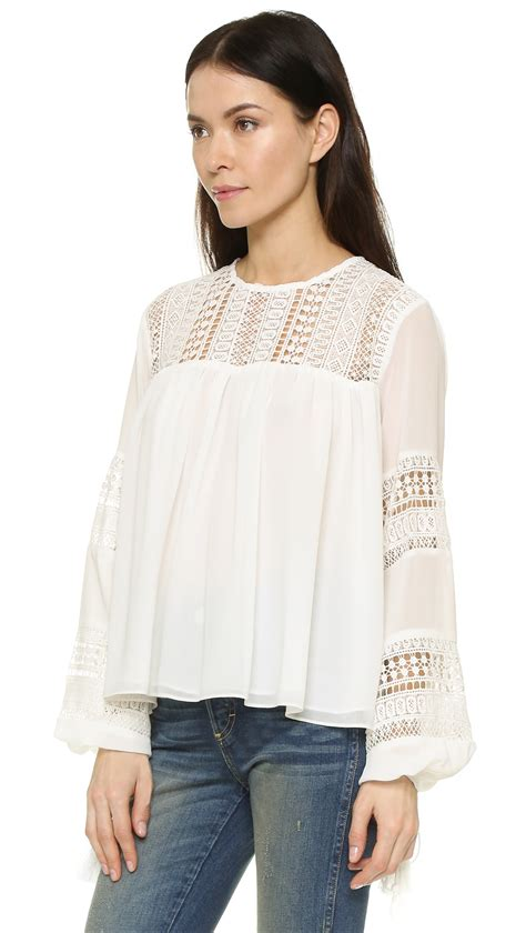 factory lace tassel blouse in white lyst