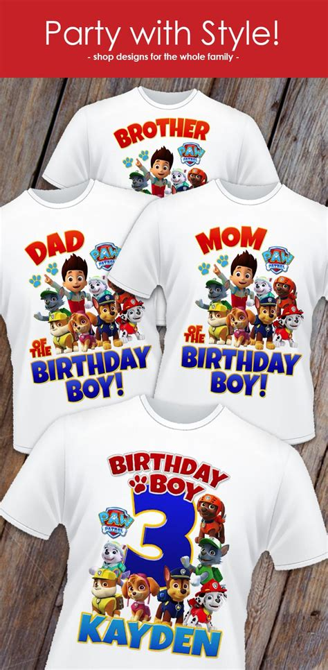Paw Patrol Birthday Shirt Designs For The Whole Family Celebrate In Style Get Yours In Time Paw Patrol Birthday Shirt Template