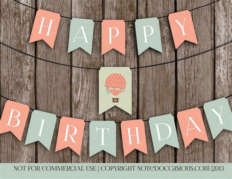 free printable vintage happy birthday banner printable happy birthday banner vintage hot air by