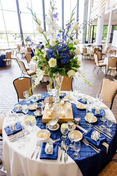 a floral explosion tablescapes royal blue wedding