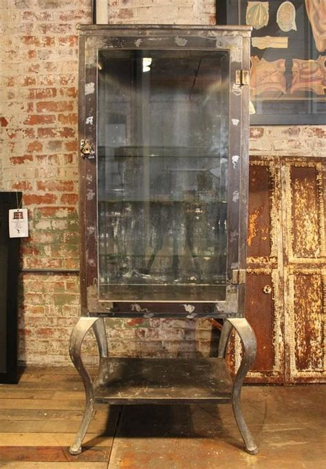 Antique Metal and Glass Doctor's / Medical Cabinet at 1stdibs