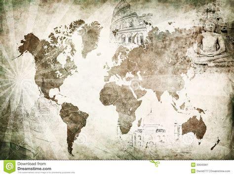 Wall Murals Maps mappa antica di viaggio intorno al mondo immagine stock