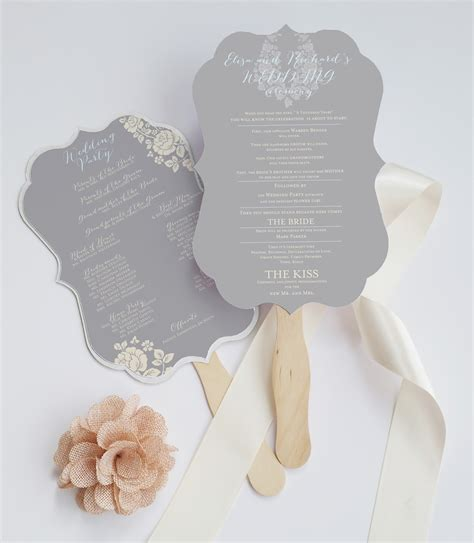 wedding program fans die cut wedding program fan deersfield grey cream