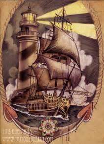 ship and lighthouse tattoo design by mojoncio on deviantart