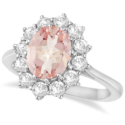 oval morganite and ring 14k white gold 3 60ctw