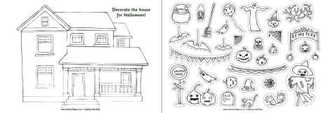halloween coloring pages activity village halloween house activity printable for kids