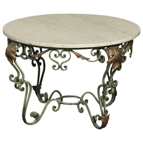 Antique Italian Hand Painted Wrought Iron And Cararra Iron And Marble Coffee Table