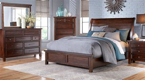 rooms   mango burnished walnut pc king panel bedroom