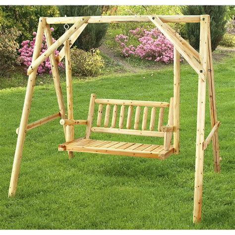 cedar log swing cedar log swing 202797 patio furniture at sportsman s guide