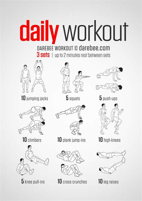 a simple no equipment workout for every day nine exercises ten reps per set visual guide