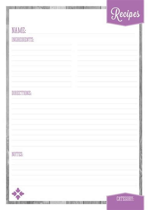 free printable recipe page template 25 best ideas about recipe templates on