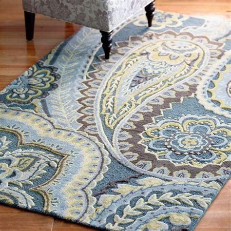 blue paisley rug blue paisley tufted wool rugs think tank