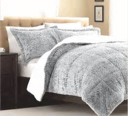 silver white faux mink fur comforter