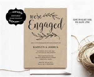 engagement invites engagement invitation template printable engagement invitation kraft invitation instant