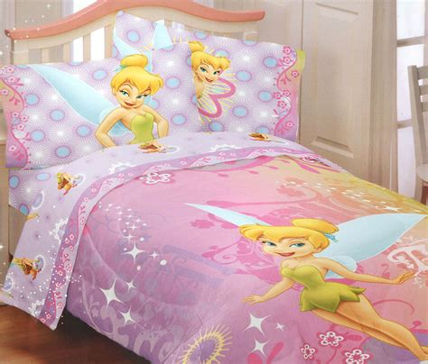 tinkerbell bedding 4pc disney fairies tinkerbell whimsy full bed sheet set fairy accent bedding ebay