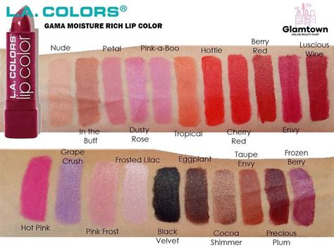 la colors cosmetics swatches of the la colors cosmetics moisture rich lipstick