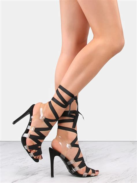 high heels with lace up clear lace up high heels black makemechic