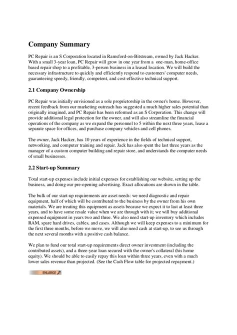 business plan format for computer shop business plan computer repair