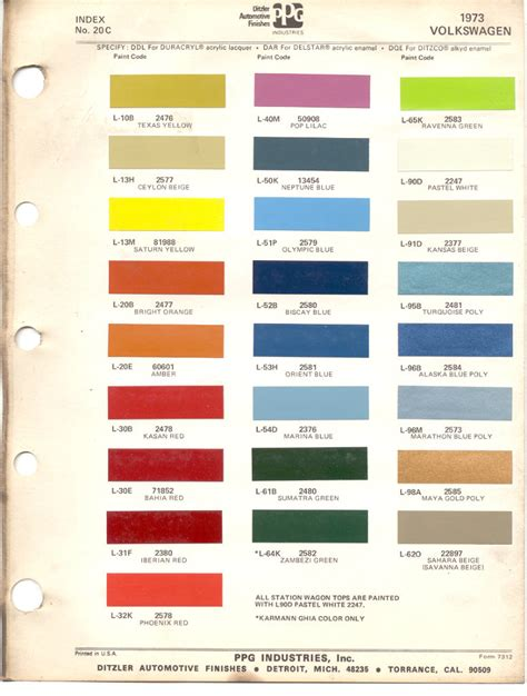 paint chips 1973 beetle vw volkswagen