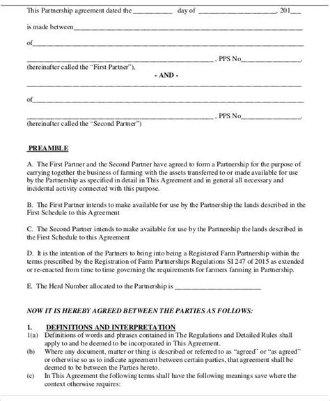 farming partnership agreement template 100 farm partnership agreement template contract farming