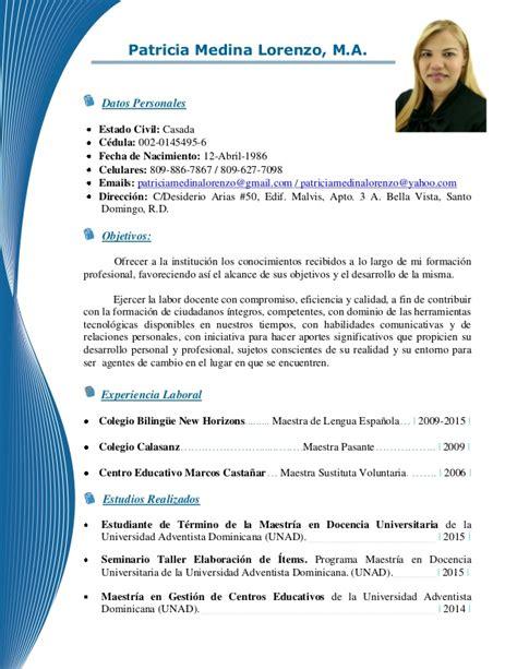 Modelo Curriculum Republica Dominicana Curr 205 Culum Vitae Medina Lorenzo M A 2015