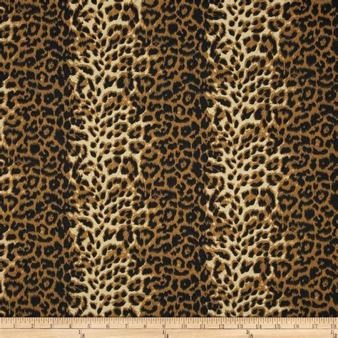 designer animal print upholstery fabric poly cotton twill leopard print brown cream discount