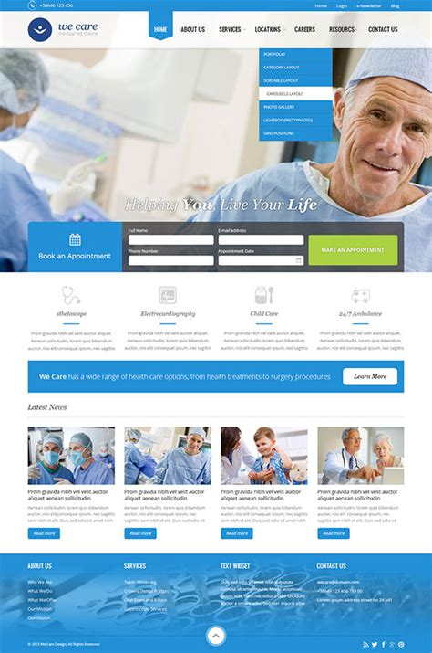 templates for website hospital hospital website template sle templates